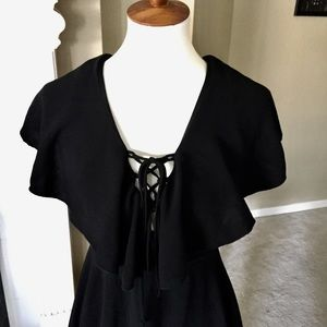 Lulu's Dresses - Lulu's Tenderly Tangled Black Lace-up Dress